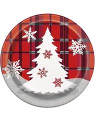 8 Platos pequeños de cartón Chalet de Navidad 18 cm