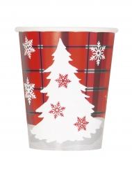 8 Vasos de cartón chalet de Papá Noel 270 ml
