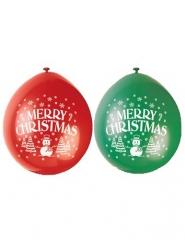10 Globos latex verdes y rojo Merry Christmas 23 cm