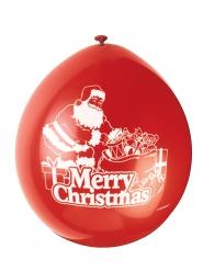 10 Globos latex rojo Merry Christmas 23 cm