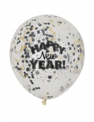 6 Globos confeti Happy New Year 31 cm
