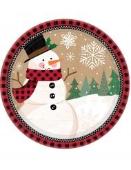 8 Platos pequeños de cartón muñeco de nieve 18 cm