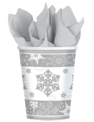 8 Vasos de cartón copos de nieve 266 ml