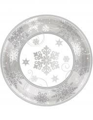 8 Platos pequeños de cartón copos de nieve 18 cm