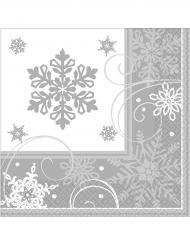 16 Servilletas pequeñas de papel copos de nieve 25 x 25 cm
