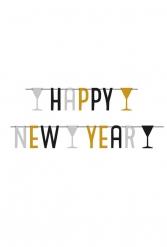 Guirlanda Happy New Year plata negro y dorado