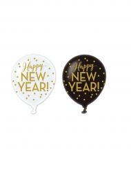 6 Globos de látex Happy New year dorado 30 cm