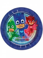 8 Platos de cartón azul PJ Masks™ 23 cm