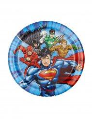8 Platos pequeños de cartón Justice League™ 18 cm