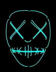 Máscara neón ojos y boca cosidos