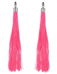 Pendientes flecos rosa fosforito adulto