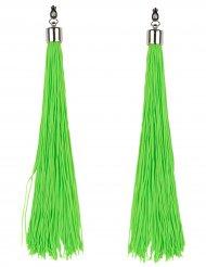 Pendientes flecos verdes fosforitos adulto