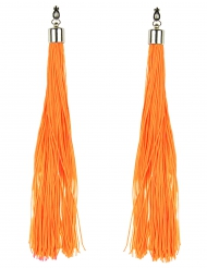 Pendientes flecos naranja fosforito adulto