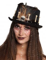Sombrero de copa vudú negro adulto