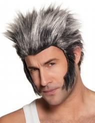 Peluca con patillas de lobo gris adulto