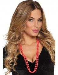 2 Collares perlas rojas adulto