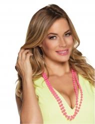 2 Collares perlas rosas adulto