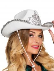 Sombrero princesa cowboy blanco mujer