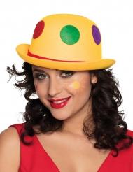 Sombrero de payaso amarillo con lunares adulto