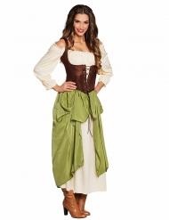Disfraz tabernera verde mujer