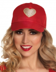 Gorra roja corazón adulto