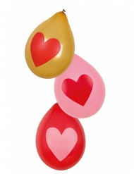 6 Globos corazones Love you 25 cm