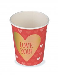 6 Vasos cartón Love You 25 cl