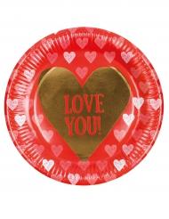 6 Platos de cartón Love you 23 cm