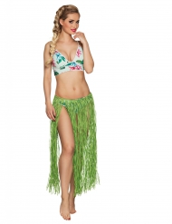 Falda hawaiana larga verde rafia adulto