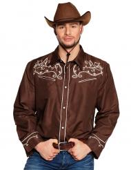 Camisa cowboy western marrón adulto