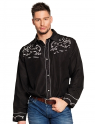 Camisa cowboy Oeste negro adulto