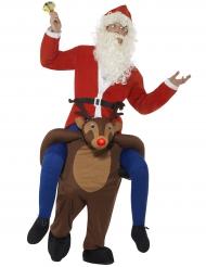 Disfraz Papá Noel sobre espalda de reno adulto