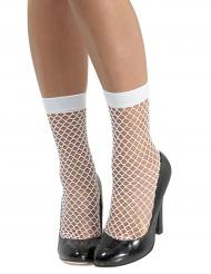 Calcetines rejilla blanca mujer