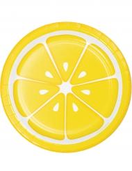8 Platos de cartón limón 18 cm