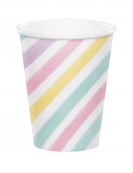 8 Vasos de cartón unicornio 256 ml