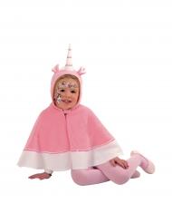 Capa unicornio con capucha rosa niña