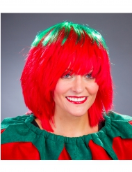 Peluca verde y rojo mujer