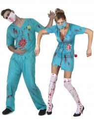 Disfraz de pareja médico zombie Halloween