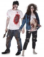 Disfraz de pareja zombie trash Halloween