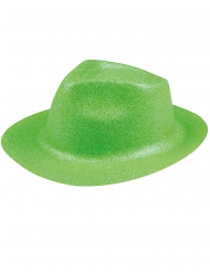 Sombrero brillantinas verde fosforito adulto