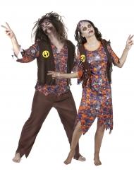 Disfraz de pareja hippie zombie Halloween
