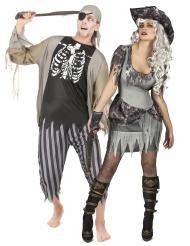 Disfraz de pareja pirata zombie Halloween