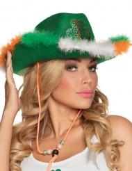Sombrero cowboy verde con piel y trébol adulto St Patrick