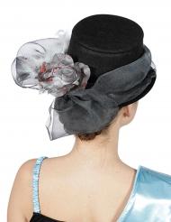 Sombrero de copa lazo y flor plateada adulto