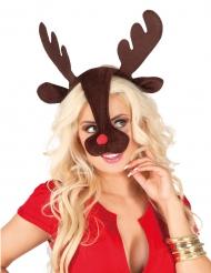 Diadema y nariz de reno adulto Navidad