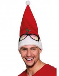Gorro rojo con gafas humorístico adulto Navidad