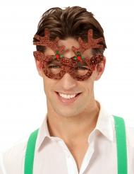 Gafas reno brillantina adulto Navidad