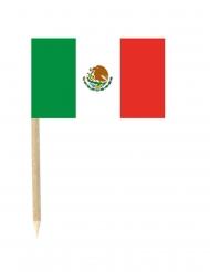 Lote de 50 mini-banderas palillos México 3x5 cm