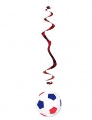 6 Decoraciones balón de fútbol azul blanco y rojo 80 cm