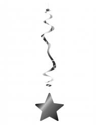 6 Decoraciones para colgar metálicas ignífugas estrella plateada 80 cm